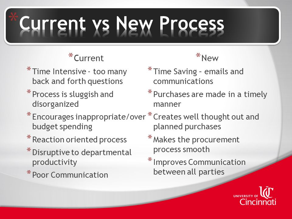 * Current * Time Intensive - too many back and forth questions * Process is sluggish and disorganized * Encourages inappropriate/over budget spending * Reaction oriented process * Disruptive to departmental productivity * Poor Communication * New * Time Saving – emails and communications * Purchases are made in a timely manner * Creates well thought out and planned purchases * Makes the procurement process smooth * Improves Communication between all parties