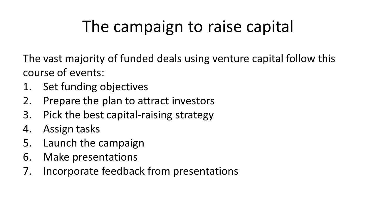 The campaign to raise capital 8.Modify plan but maintain vision 9.Due diligence 10.The lead VC says We will invest! 11.Closing the VC contract 12.Closing week 13.Cash in the bank