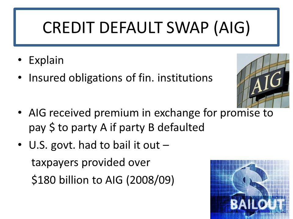 CREDIT DEFAULT SWAP (AIG) Explain Insured obligations of fin.