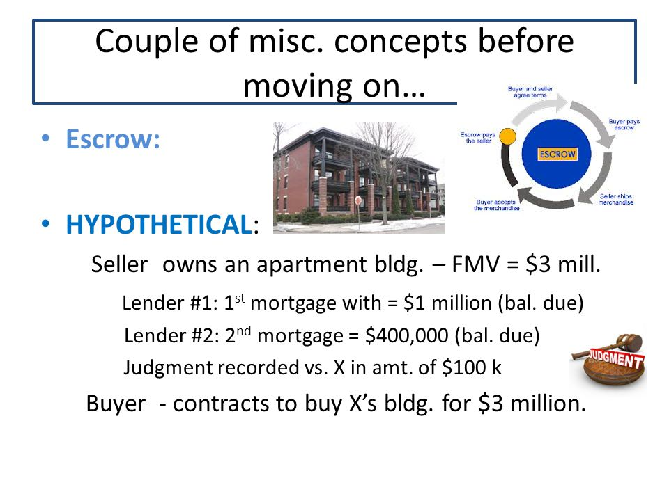 Couple of misc. concepts before moving on… Escrow: HYPOTHETICAL: Seller owns an apartment bldg.
