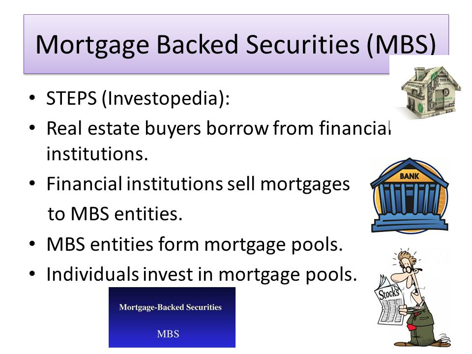 Mortgage Backed Securities (MBS) STEPS (Investopedia): Real estate buyers borrow from financial institutions.