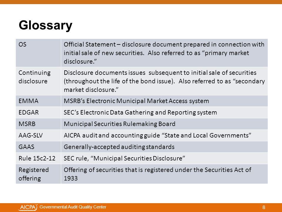 #aicpacw Governmental Audit Quality Center SEC developments