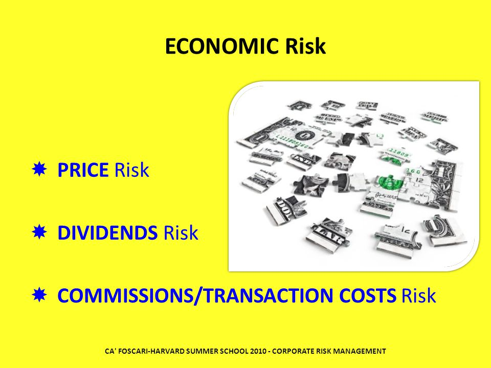 ECONOMIC Risk PPRICE Risk DDIVIDENDS Risk CCOMMISSIONS/TRANSACTION COSTS Risk CA' FOSCARI-HARVARD SUMMER SCHOOL 2010 - CORPORATE RISK MANAGEMENT