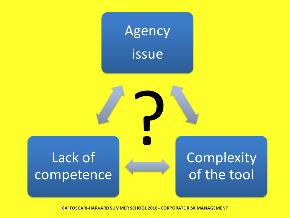 Agency issue Complexity of the tool Lack of competence CA' FOSCARI-HARVARD SUMMER SCHOOL 2010 - CORPORATE RISK MANAGEMENT ?