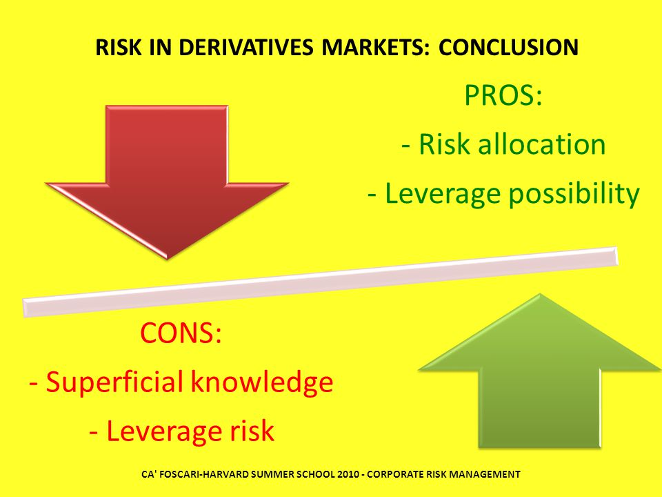 CONS: - Superficial knowledge - Leverage risk PROS: - Risk allocation - Leverage possibility RISK IN DERIVATIVES MARKETS: CONCLUSION