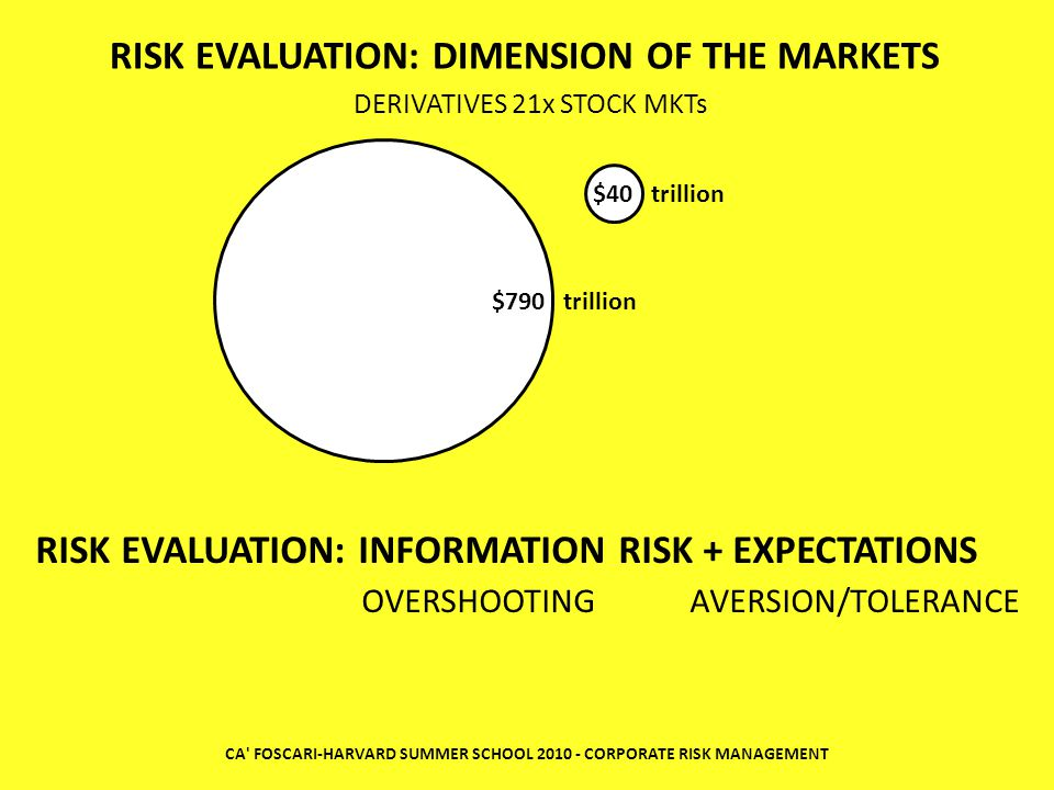 CA' FOSCARI-HARVARD SUMMER SCHOOL 2010 - CORPORATE RISK MANAGEMENT RISK EVALUATION: INFORMATION RISK + EXPECTATIONS OVERSHOOTING AVERSION/TOLERANCE RI