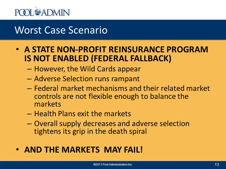 Worst Case Scenario A STATE NON-PROFIT REINSURANCE PROGRAM IS NOT ENABLED (FEDERAL FALLBACK) – However, the Wild Cards appear – Adverse Selection runs rampant – Federal market mechanisms and their related market controls are not flexible enough to balance the markets – Health Plans exit the markets – Overall supply decreases and adverse selection tightens its grip in the death spiral AND THE MARKETS MAY FAIL.