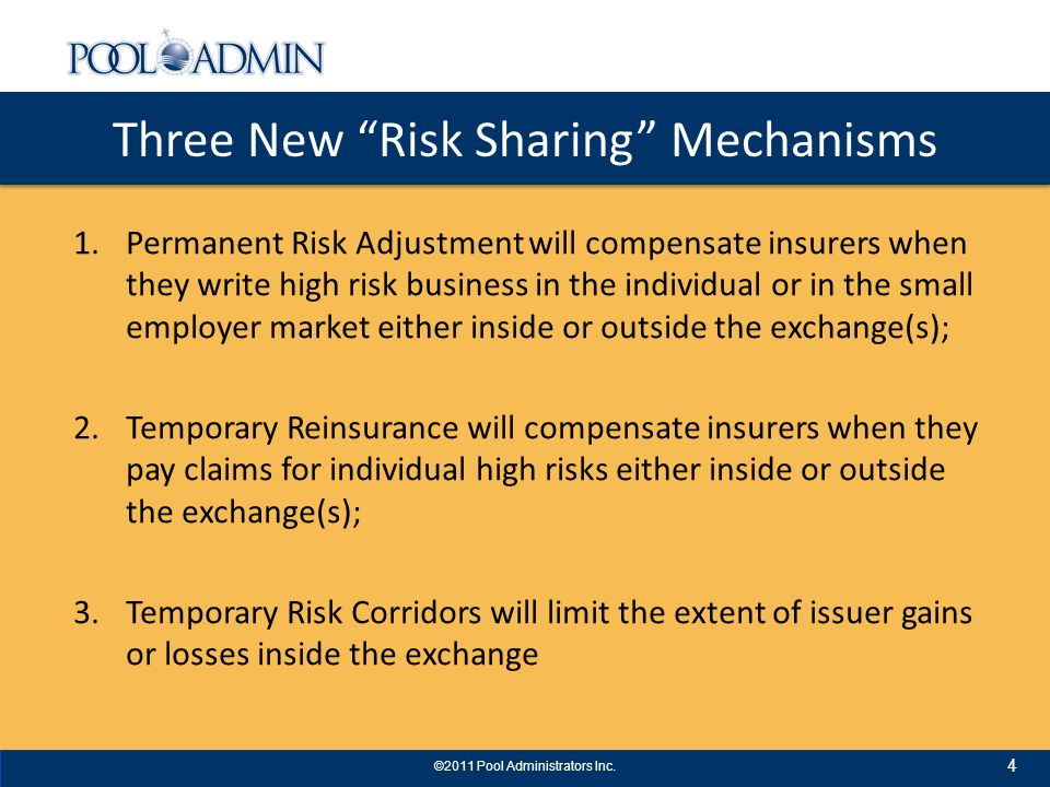 Important Planning Considerations A State should follow a simple, safe and cost effective implementation approach for reinsurance – Use the existing high risk pool or reinsurance pool infrastructure wherever possible – Use the proven NAIC Model for Reinsurance by converting small group provisions into individual market provisions and allow options for prospective, retrospective and selective ceding of individual risks – All this proven infrastructure and simple flexibility will help but effective reinsurance will still be very challenging because of the volatility of dumping and the untried nature of commercial risk adjustment 15 ©2011 Pool Administrators Inc.