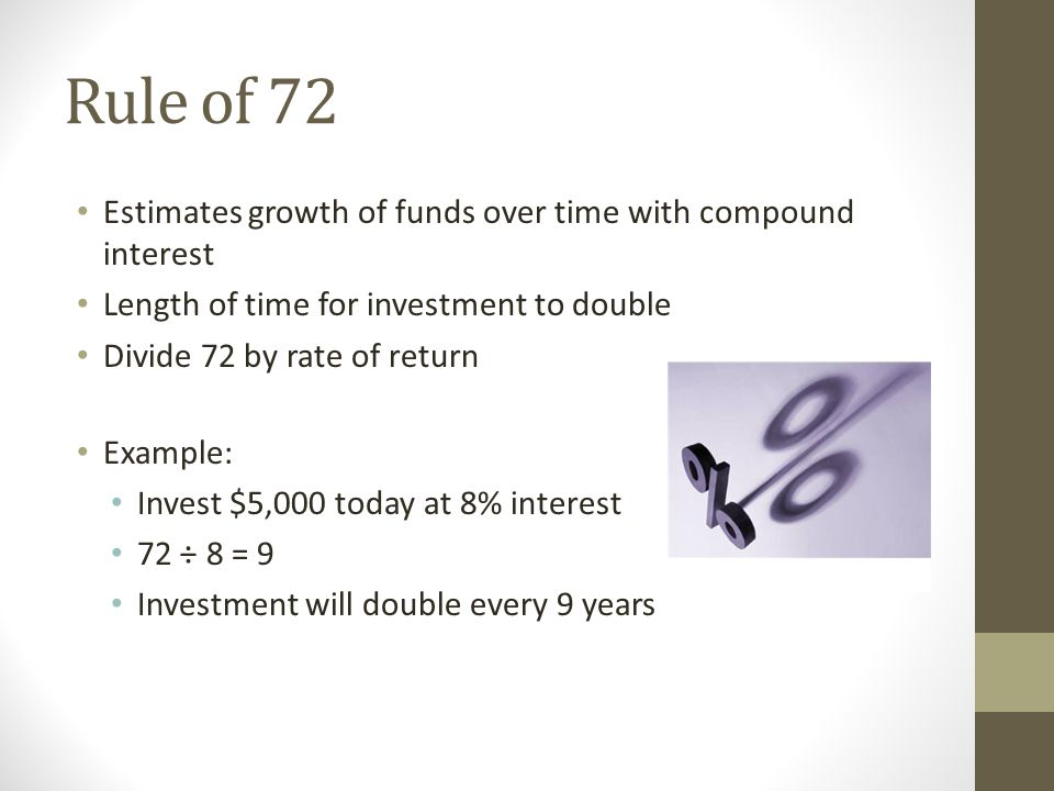 Estimates growth of funds over time with compound interest Length of time for investment to double Divide 72 by rate of return Example: Invest $5,000 today at 8% interest 72 ÷ 8 = 9 Investment will double every 9 years
