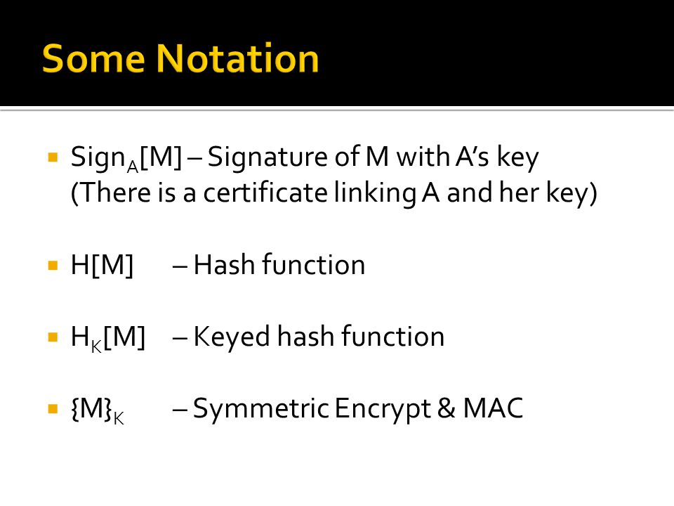  Sign A [M] – Signature of M with A's key (There is a certificate linking A and her key)  H[M] – Hash function  H K [M] – Keyed hash function  {M}