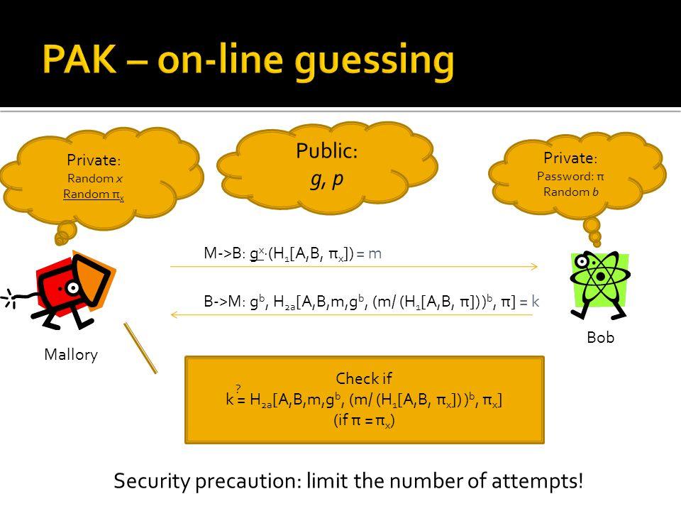 Public: g, p Bob Private: Password: π Random b M->B: g x ∙(H 1 [A,B, π x ]) = m B->M: g b, H 2a [A,B,m,g b, (m/ (H 1 [A,B, π]) ) b, π] = k Check if k = H 2a [A,B,m,g b, (m/ (H 1 [A,B, π x ]) ) b, π x ] (if π = π x ) .