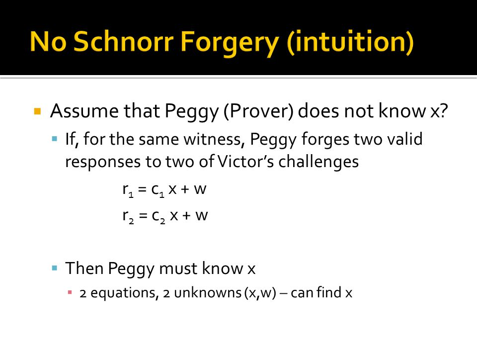  Assume that Peggy (Prover) does not know x.