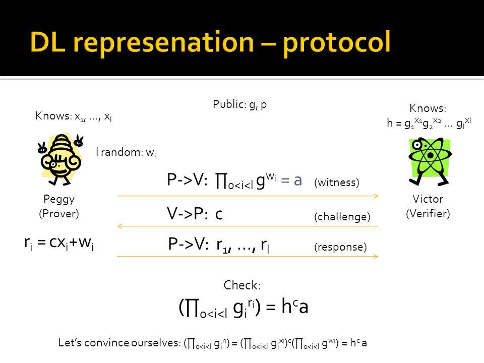 Peggy (Prover) Victor (Verifier) Public: g, p Knows: x 1,..., x l Knows: h = g 1 X1 g 2 X2...