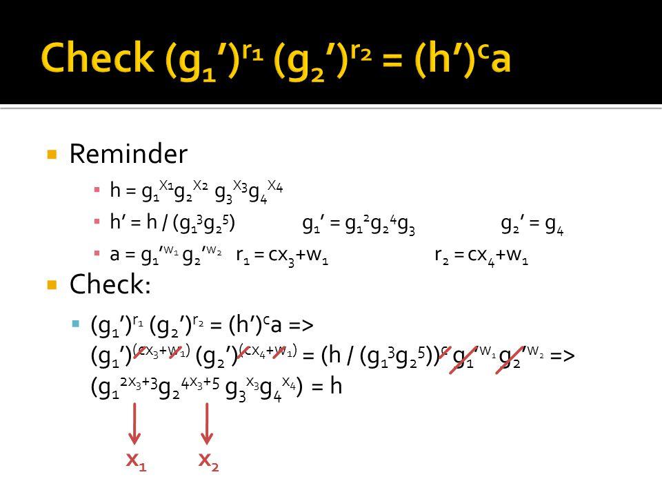  Reminder ▪ h = g 1 X1 g 2 X2 g 3 X3 g 4 X4 ▪ h' = h / (g 1 3 g 2 5 )g 1 ' = g 1 2 g 2 4 g 3 g 2 ' = g 4 ▪ a = g 1 ' w 1 g 2 ' w 2 r 1 = cx 3 +w 1 r 2 = cx 4 +w 1  Check:  (g 1 ') r 1 (g 2 ') r 2 = (h') c a => (g 1 ') (cx 3 +w 1 ) (g 2 ') (cx 4 +w 1 ) = (h / (g 1 3 g 2 5 )) c g 1 ' w 1 g 2 ' w 2 => (g 1 2x 3 +3 g 2 4x 3 +5 g 3 x 3 g 4 x 4 ) = h x1x1 x2x2