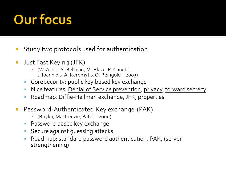  Study two protocols used for authentication  Just Fast Keying (JFK) ▪ (W. Aiello, S. Bellovin, M. Blaze, R. Canetti, J. Ioannidis, A. Keromytis, O.