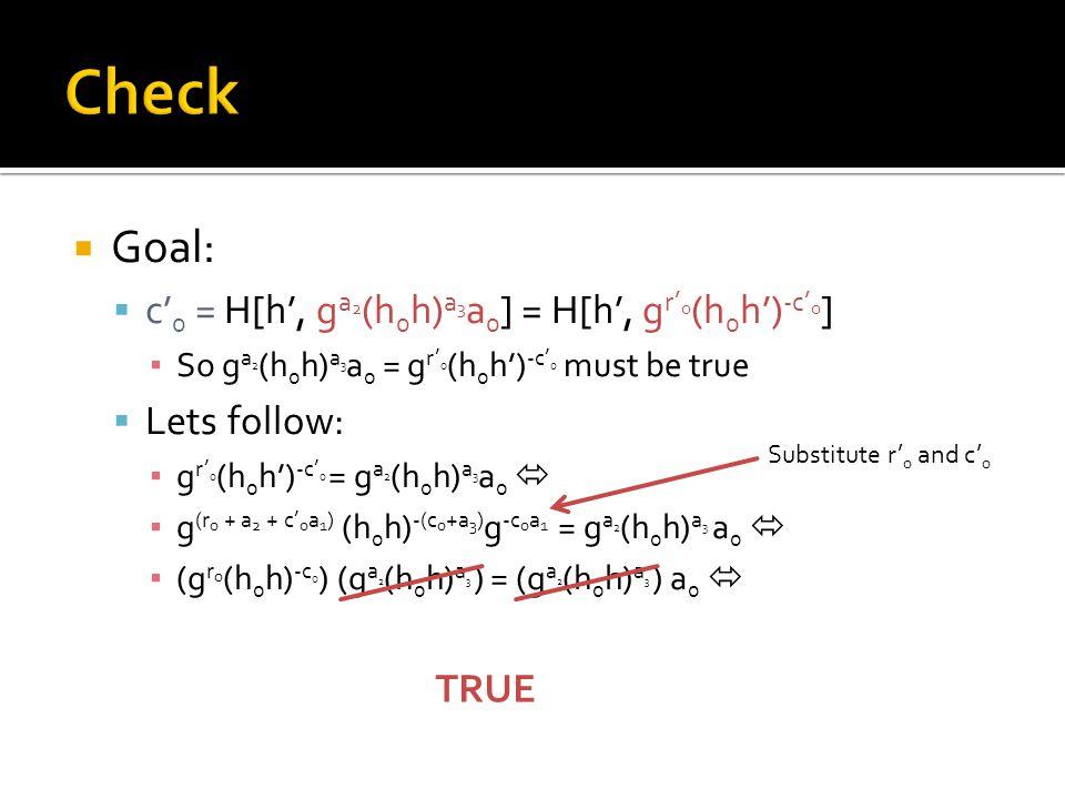  Goal:  c' 0 = H[h', g a 2 (h 0 h) a 3 a 0 ] = H[h', g r' 0 (h 0 h') -c' 0 ] ▪ So g a 2 (h 0 h) a 3 a 0 = g r' 0 (h 0 h') -c' 0 must be true  Lets follow: ▪ g r' 0 (h 0 h') -c' 0 = g a 2 (h 0 h) a 3 a 0  ▪ g (r 0 + a 2 + c' 0 a 1 ) (h 0 h) -(c 0 +a 3 ) g -c 0 a 1 = g a 2 (h 0 h) a 3 a 0  ▪ (g r 0 (h 0 h) -c 0 ) (g a 2 (h 0 h) a 3 ) = (g a 2 (h 0 h) a 3 ) a 0  Substitute r' 0 and c' 0 TRUE