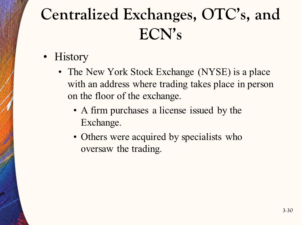 3-30 Centralized Exchanges, OTC's, and ECN's History The New York Stock Exchange (NYSE) is a place with an address where trading takes place in person