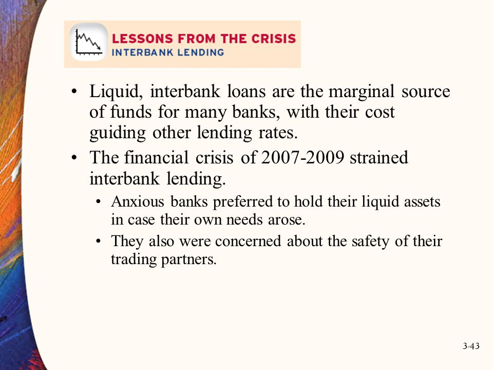 3-43 Liquid, interbank loans are the marginal source of funds for many banks, with their cost guiding other lending rates. The financial crisis of 200