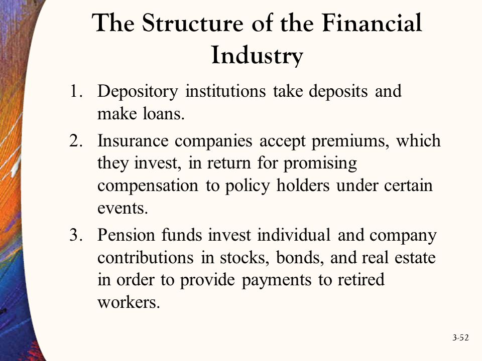 3-52 The Structure of the Financial Industry 1.Depository institutions take deposits and make loans. 2.Insurance companies accept premiums, which they
