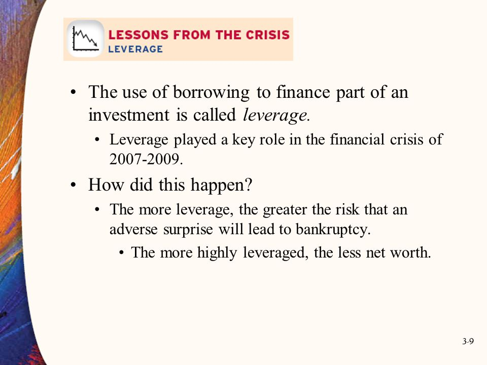 3-9 The use of borrowing to finance part of an investment is called leverage. Leverage played a key role in the financial crisis of 2007-2009. How did