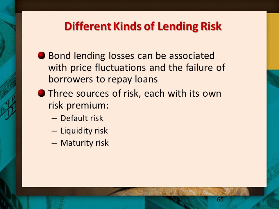 Different Kinds of Lending Risk Bond lending losses can be associated with price fluctuations and the failure of borrowers to repay loans Three source