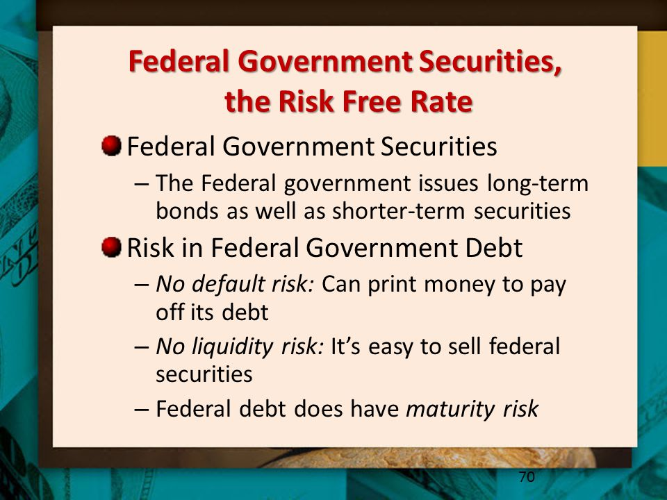 Federal Government Securities, the Risk Free Rate Federal Government Securities – The Federal government issues long-term bonds as well as shorter-ter