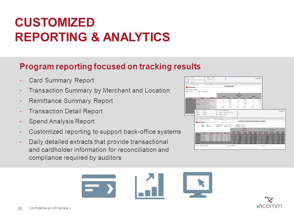 CUSTOMIZED REPORTING & ANALYTICS Program reporting focused on tracking results Card Summary Report Transaction Summary by Merchant and Location Remitt
