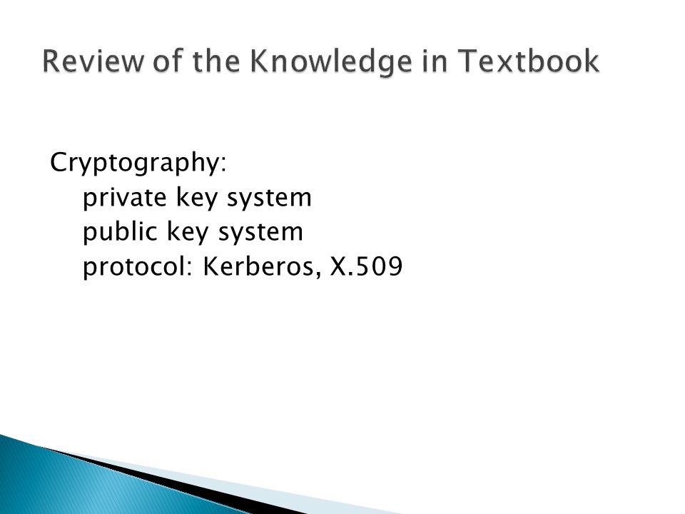 Cryptography: private key system public key system protocol: Kerberos, X.509