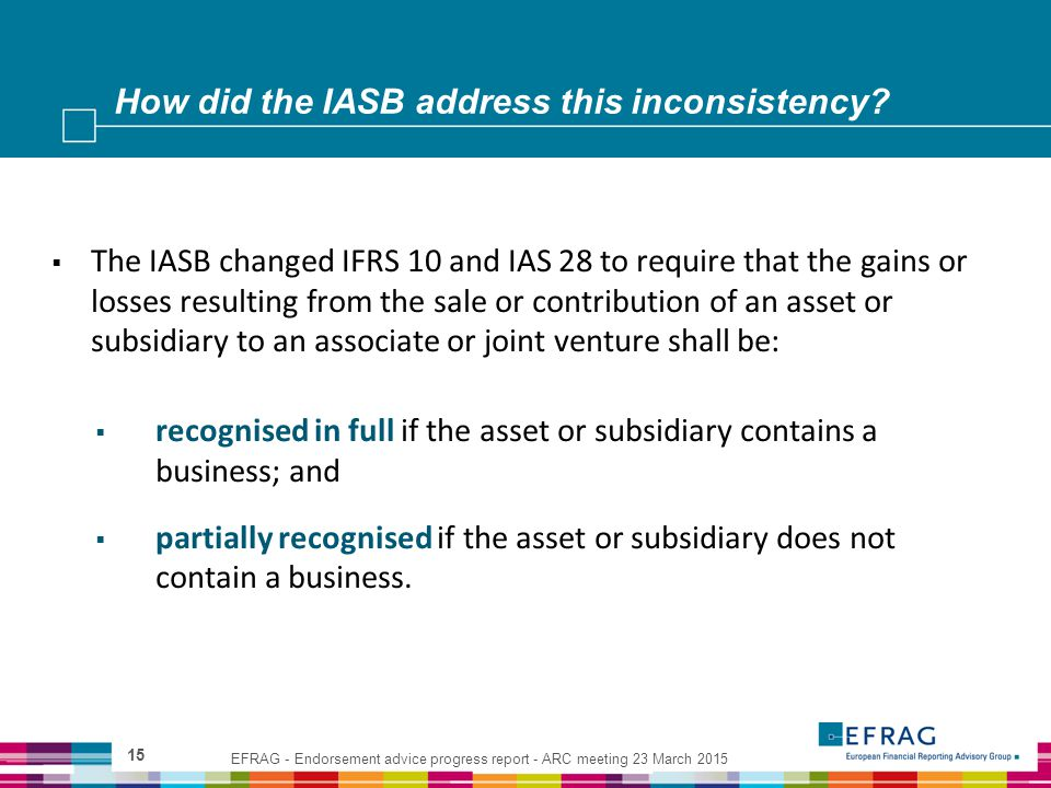 How did the IASB address this inconsistency? 15  The IASB changed IFRS 10 and IAS 28 to require that the gains or losses resulting from the sale or c
