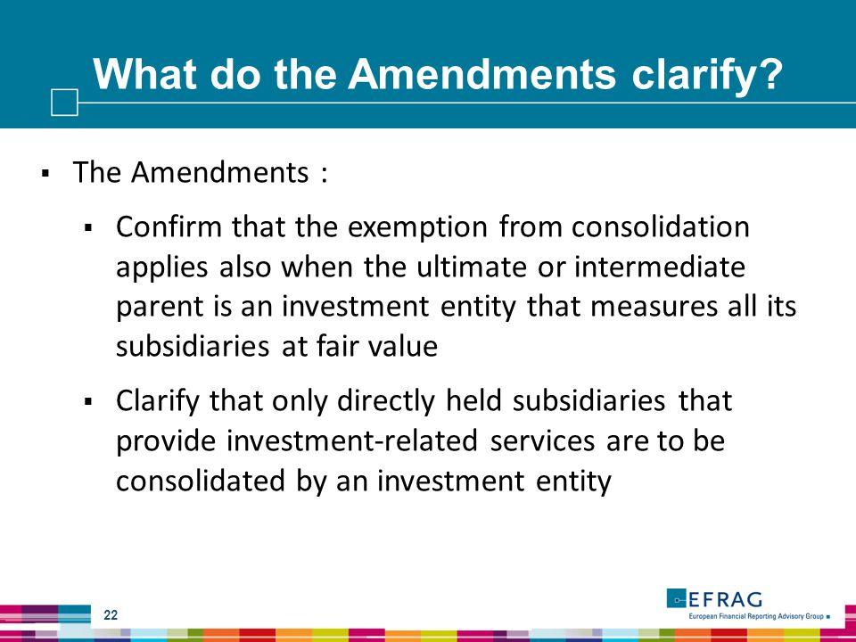 What do the Amendments clarify.