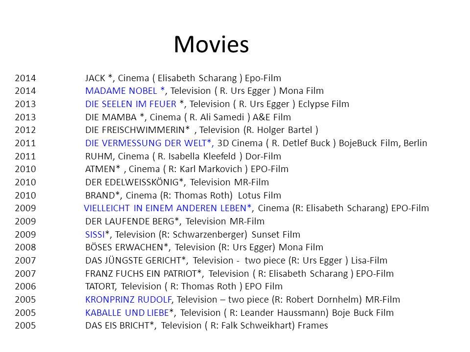 2014JACK *, Cinema ( Elisabeth Scharang ) Epo-Film 2014MADAME NOBEL *, Television ( R.