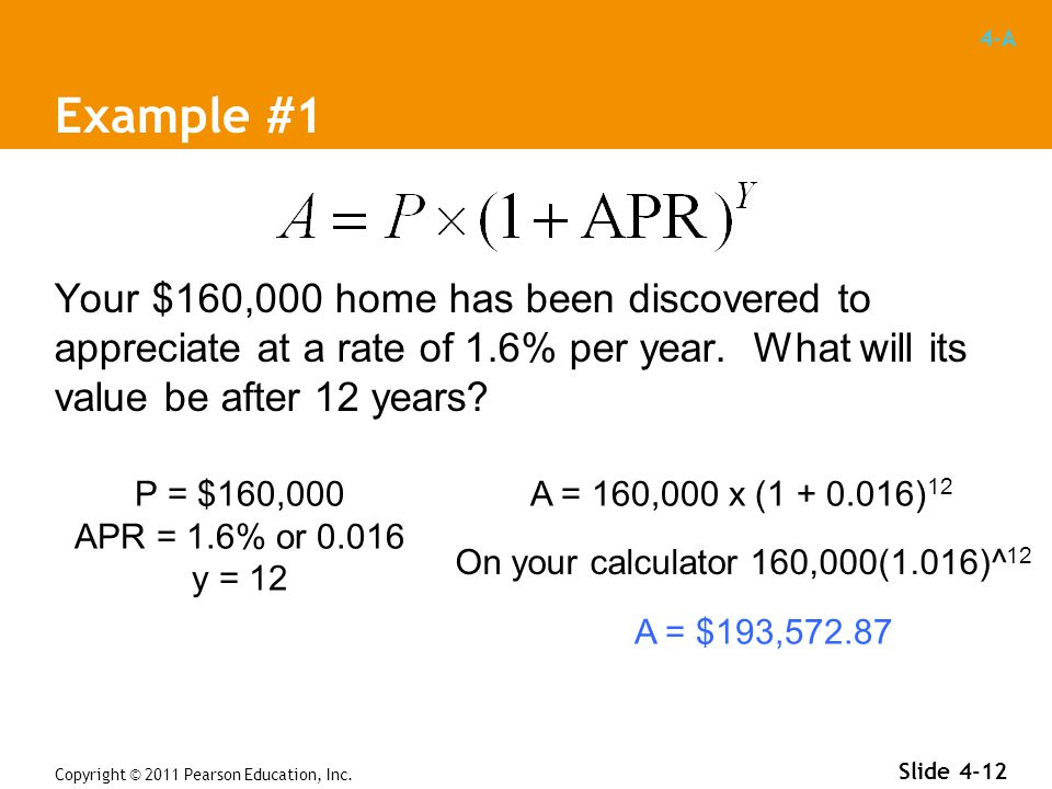 4-A Example #1 Your $160,000 home has been discovered to appreciate at a rate of 1.6% per year.