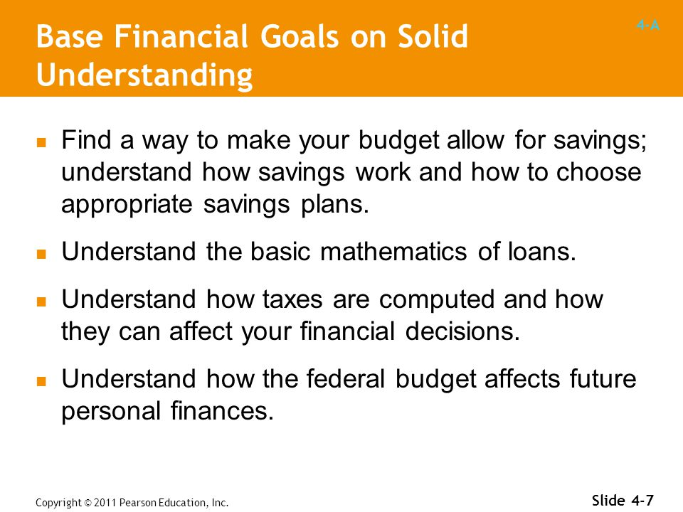 4-A Copyright © 2011 Pearson Education, Inc. Slide 4-7 Find a way to make your budget allow for savings; understand how savings work and how to choose