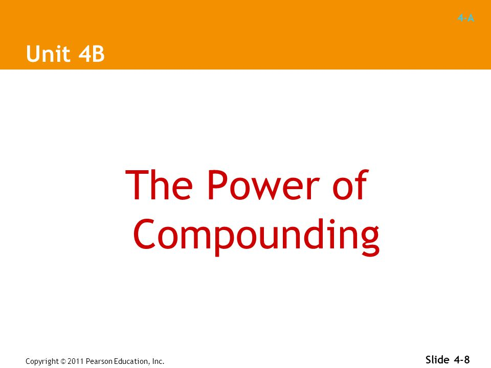 4-A Copyright © 2011 Pearson Education, Inc. Slide 4-8 Unit 4B The Power of Compounding