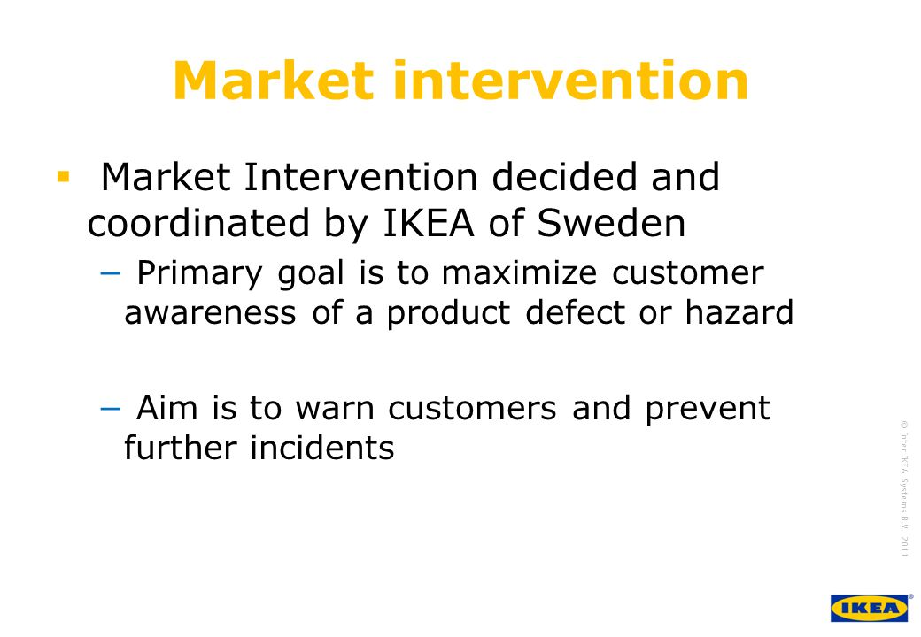growing IKEA Together © Inter IKEA Systems B.V. 2011 Market intervention  Market Intervention decided and coordinated by IKEA of Sweden − Primary goa