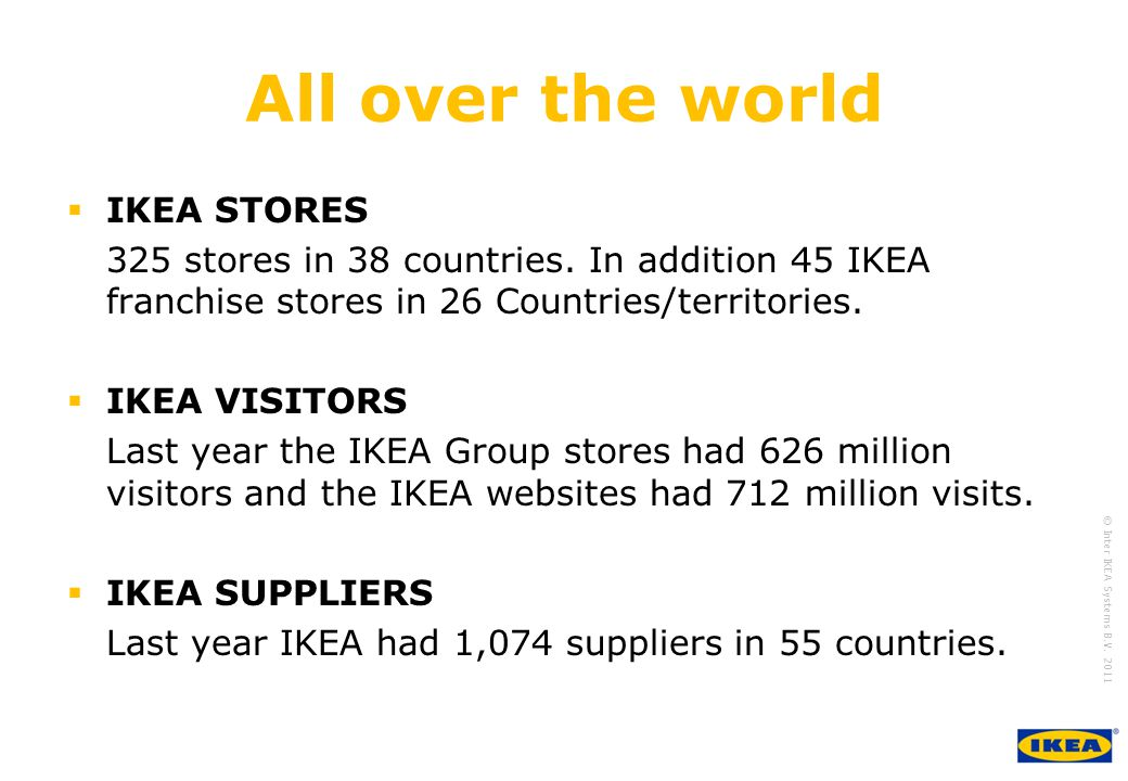 growing IKEA Together © Inter IKEA Systems B.V. 2011 All over the world  IKEA STORES 325 stores in 38 countries. In addition 45 IKEA franchise stores