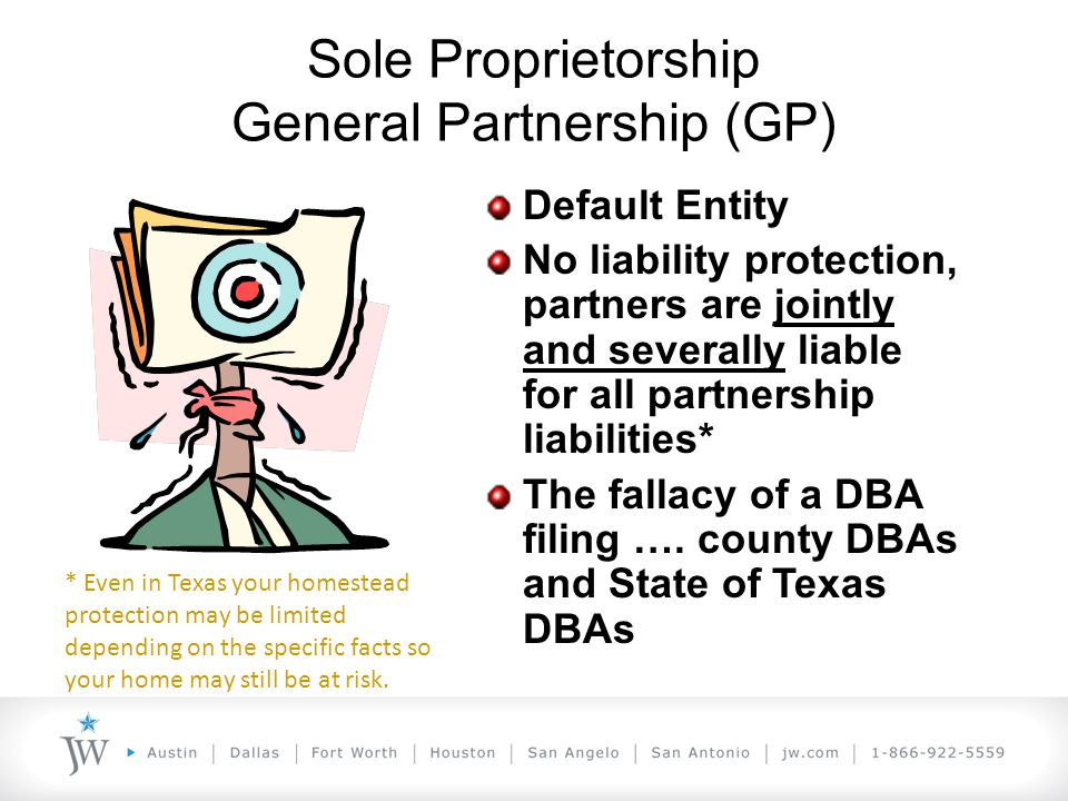 UTSA Colleges of Business and Engineering TAKE YOUR TECHNOLOGY TO THE LIMIT! Sole Proprietorship General Partnership (GP) Default Entity No liability