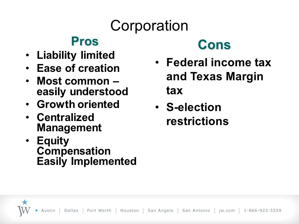 UTSA Colleges of Business and Engineering TAKE YOUR TECHNOLOGY TO THE LIMIT! Corporation Pros Liability limited Ease of creation Most common – easily