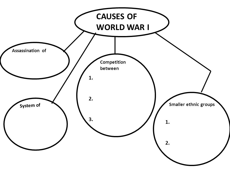 CAUSES OF WORLD WAR I Assassination of System of Competition between Smaller ethnic groups 1.