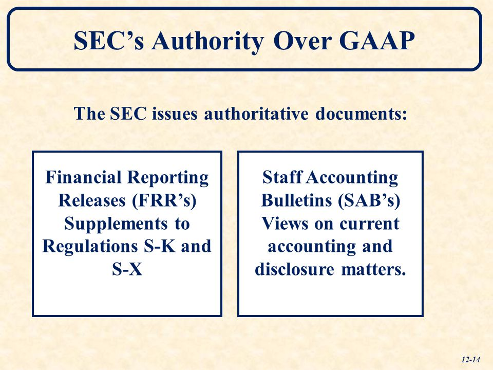 The SEC issues authoritative documents: Financial Reporting Releases (FRR's) Supplements to Regulations S-K and S-X Staff Accounting Bulletins (SAB's)