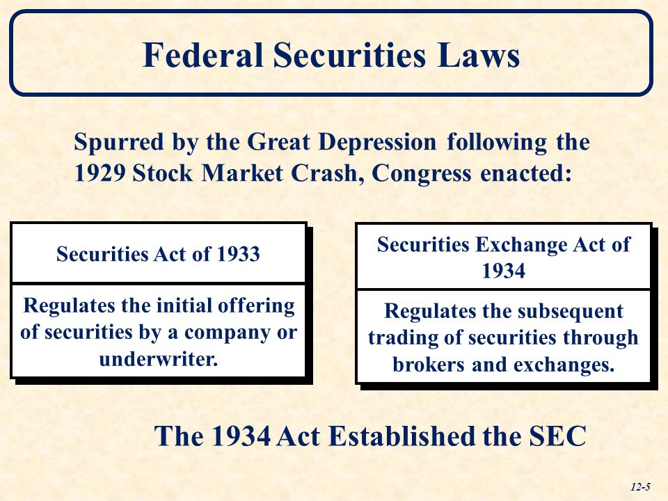 Securities Exchange Act of 1934 Securities Act of 1933 Federal Securities Laws Regulates the initial offering of securities by a company or underwriter.