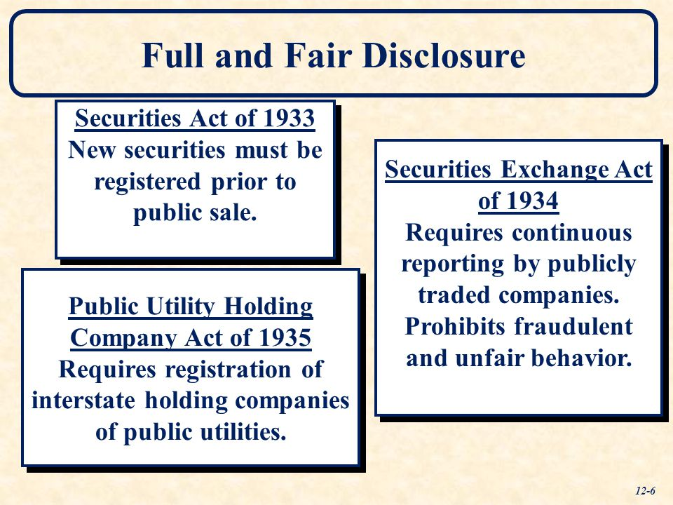 Full and Fair Disclosure Securities Act of 1933 New securities must be registered prior to public sale.