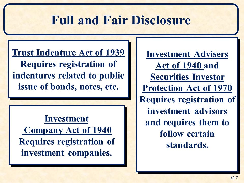 Full and Fair Disclosure Trust Indenture Act of 1939 Requires registration of indentures related to public issue of bonds, notes, etc. Trust Indenture