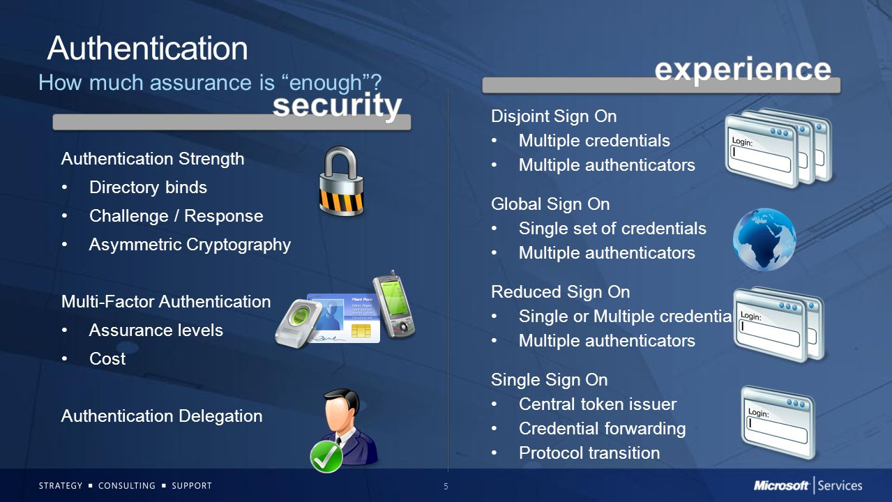 6 Authorization Make the best decision possible Authorization hard-coded into the app Expensive and Slow Abstract authorization away from the app Modularized operations Flexibility Based on your job function Define tasks and group them together Based on something about you Application owns the decision - ties attributes to operations Claims-based access Similar to locking your front door Works well at the Network and Operating System layers Externalize the authorization decision Fits nicely into a SOA-based approach Centralized