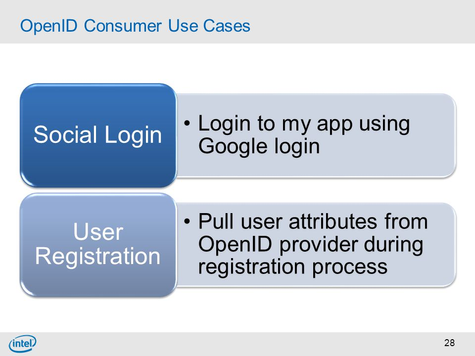 28 OpenID Consumer Use Cases Login to my app using Google login Social Login Pull user attributes from OpenID provider during registration process Use