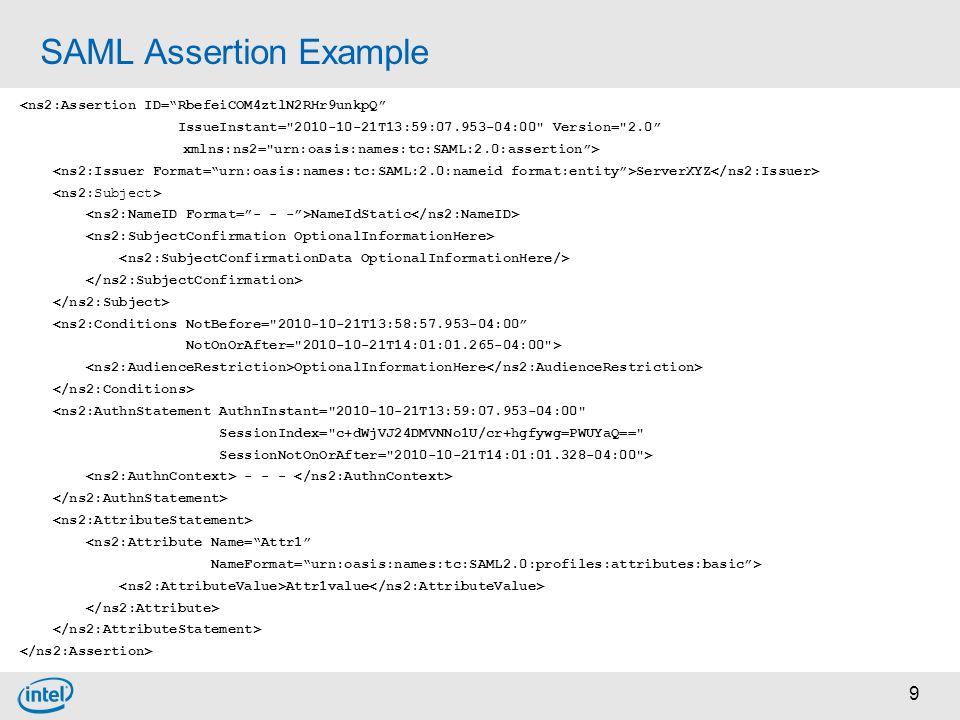 """9 SAML Assertion Example <ns2:Assertion ID=""""RbefeiCOM4ztlN2RHr9unkpQ"""" IssueInstant="""