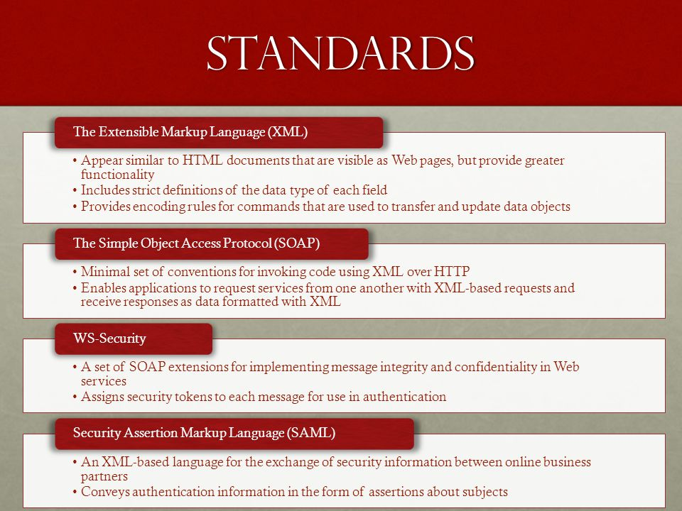 Standards Appear similar to HTML documents that are visible as Web pages, but provide greater functionality Includes strict definitions of the data type of each field Provides encoding rules for commands that are used to transfer and update data objects The Extensible Markup Language (XML) Minimal set of conventions for invoking code using XML over HTTP Enables applications to request services from one another with XML-based requests and receive responses as data formatted with XML The Simple Object Access Protocol (SOAP) A set of SOAP extensions for implementing message integrity and confidentiality in Web services Assigns security tokens to each message for use in authentication WS-Security An XML-based language for the exchange of security information between online business partners Conveys authentication information in the form of assertions about subjects Security Assertion Markup Language (SAML)