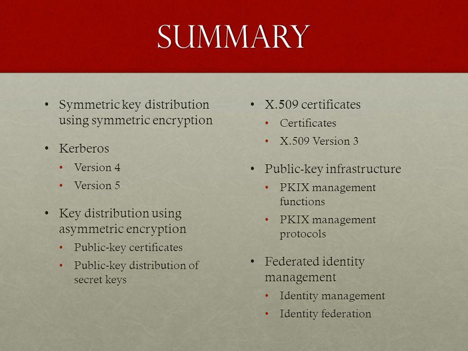 Summary Symmetric key distribution using symmetric encryptionSymmetric key distribution using symmetric encryption KerberosKerberos Version 4Version 4