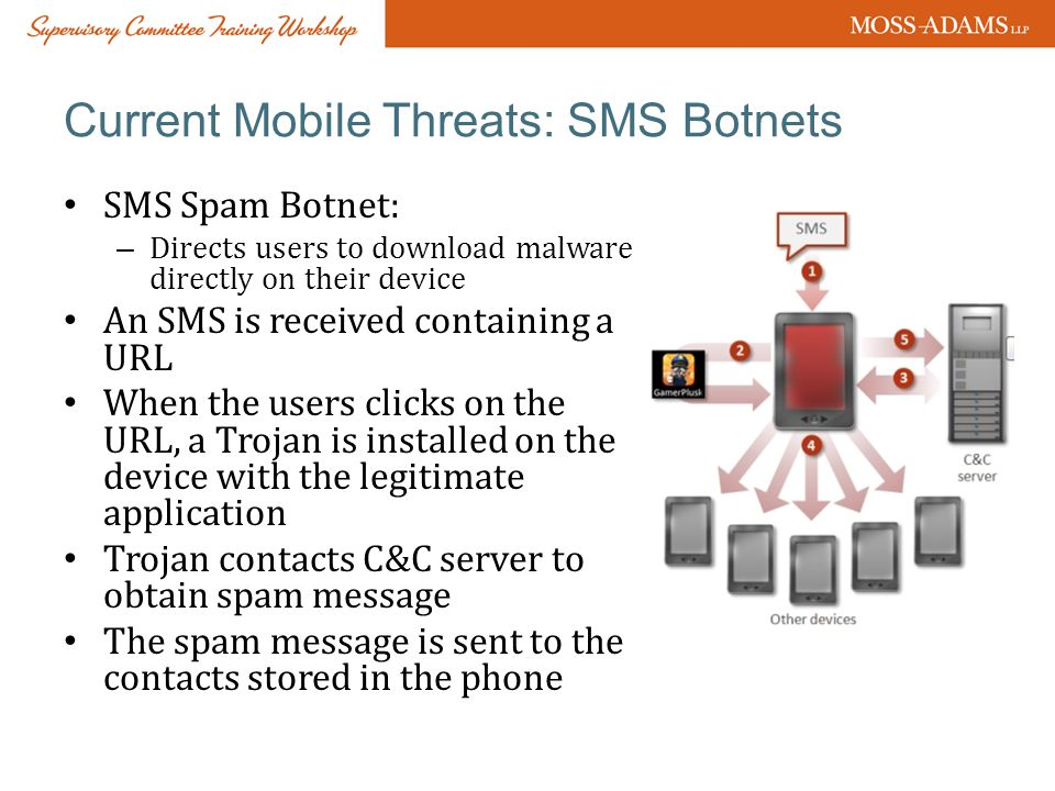 Current Mobile Threats: SMS Botnets SMS Spam Botnet: – Directs users to download malware directly on their device An SMS is received containing a URL When the users clicks on the URL, a Trojan is installed on the device with the legitimate application Trojan contacts C&C server to obtain spam message The spam message is sent to the contacts stored in the phone