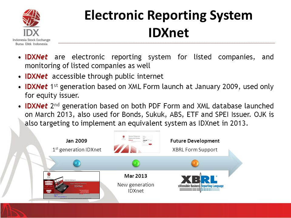 Electronic Reporting System IDXnet IDXNetIDXNet are electronic reporting system for listed companies, and monitoring of listed companies as well IDXNetIDXNet accessible through public internet IDXNetIDXNet 1 st generation based on XML Form launch at January 2009, used only for equity issuer.